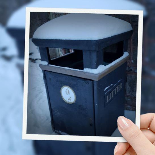 Bin with snow